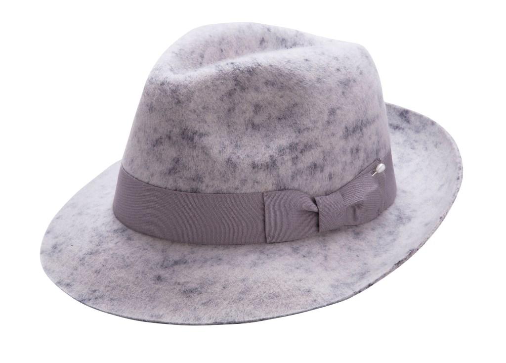 Montique Men/'s Grey Stingy Brim Teardrop Dent Pork Pie Wool Felt Hat with Feathe